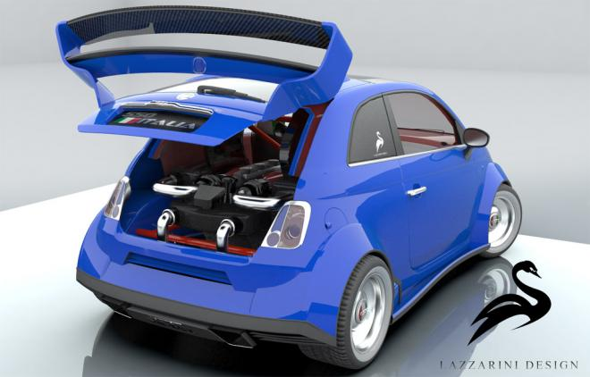 Lazzarini Design Fiat 500 with Ferrari V8
